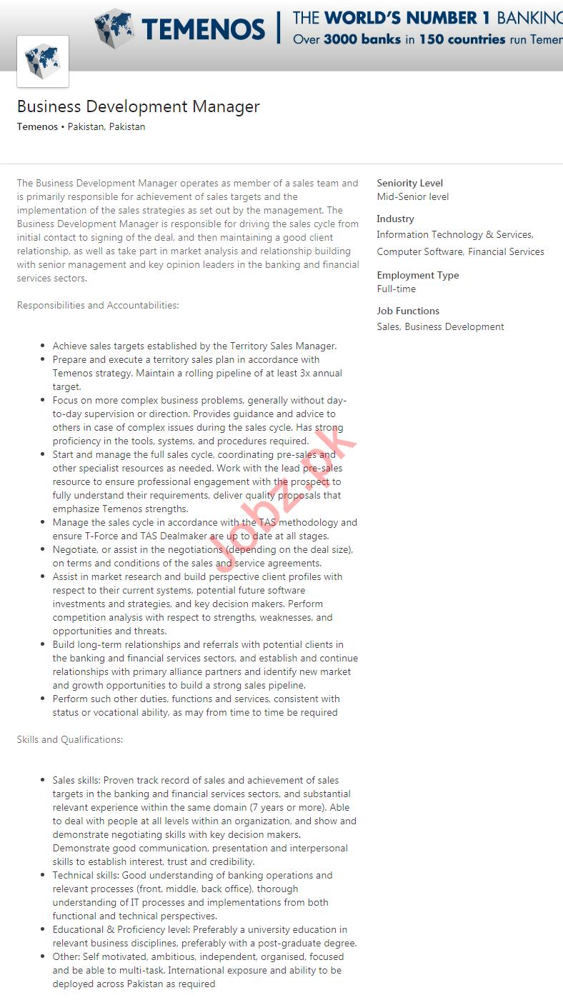 Business Development Manager Job 2020 in Karachi
