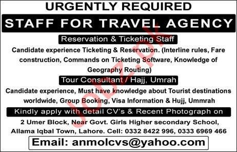 Travel Agency Jobs 2020 For Lahore