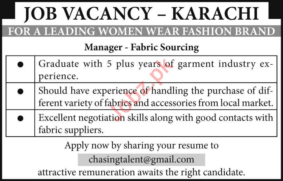 Chasing Talented Pvt Ltd Job For Manager Fabric Sourcing