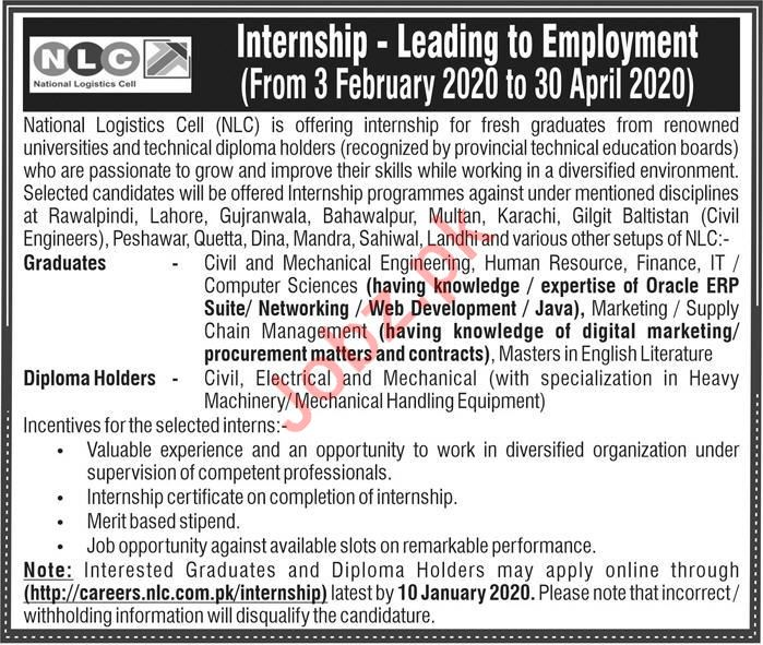 National Logistics Cell NLC Jobs For Internee