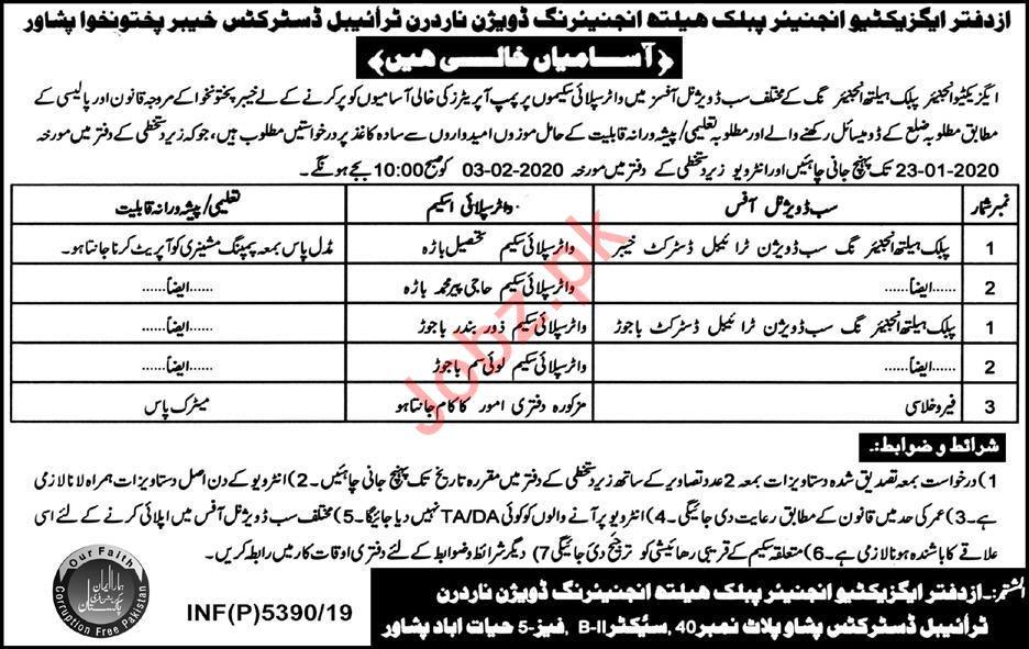 Public Health Engineering Division Jobs 2020 in Peshawar KPK