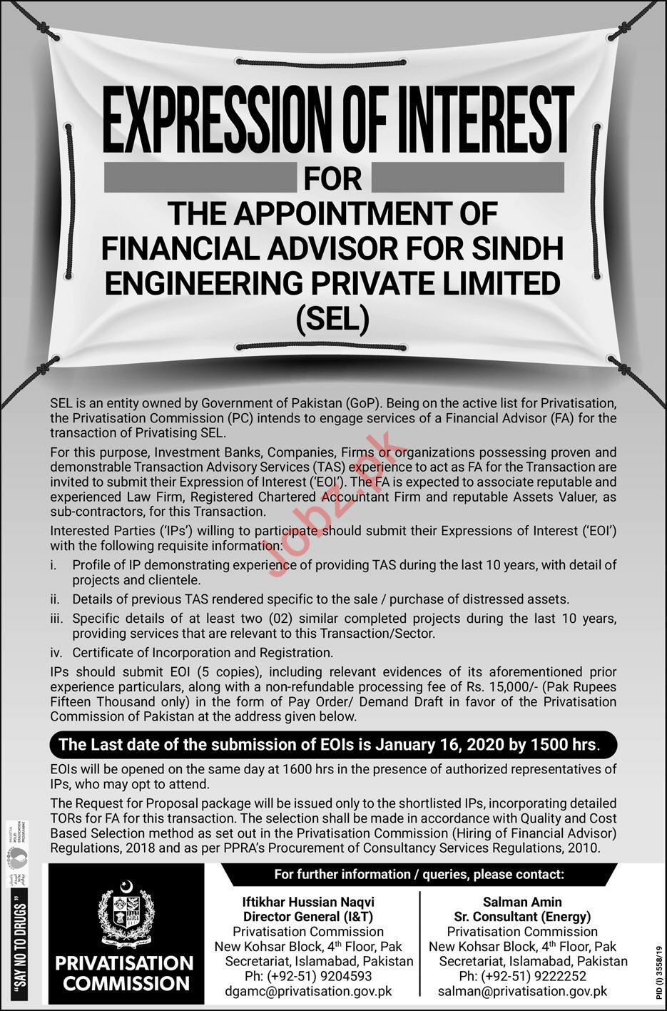 Sindh Engineering Private Ltd SEL Job For Financial Advisor
