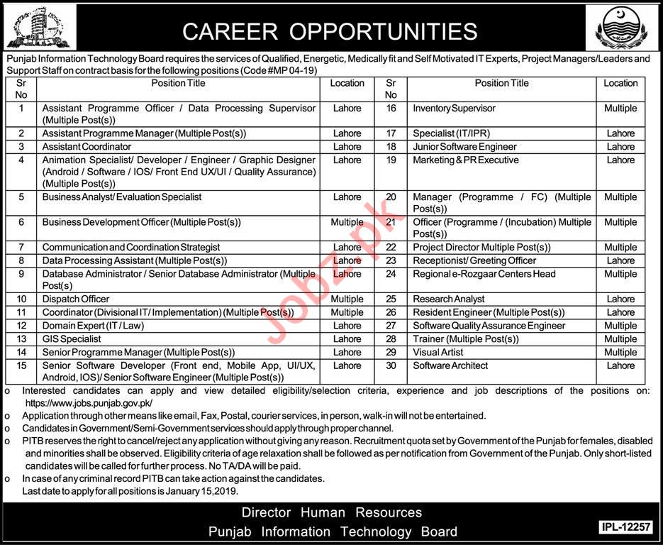 Punjab Information Technology Board PITB Jobs in Lahore