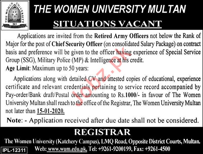 The Women University Multan Job For Chief Security Officer