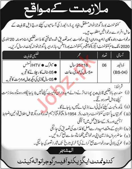 Cantonment Board Jobs 2020 in Gujranwala