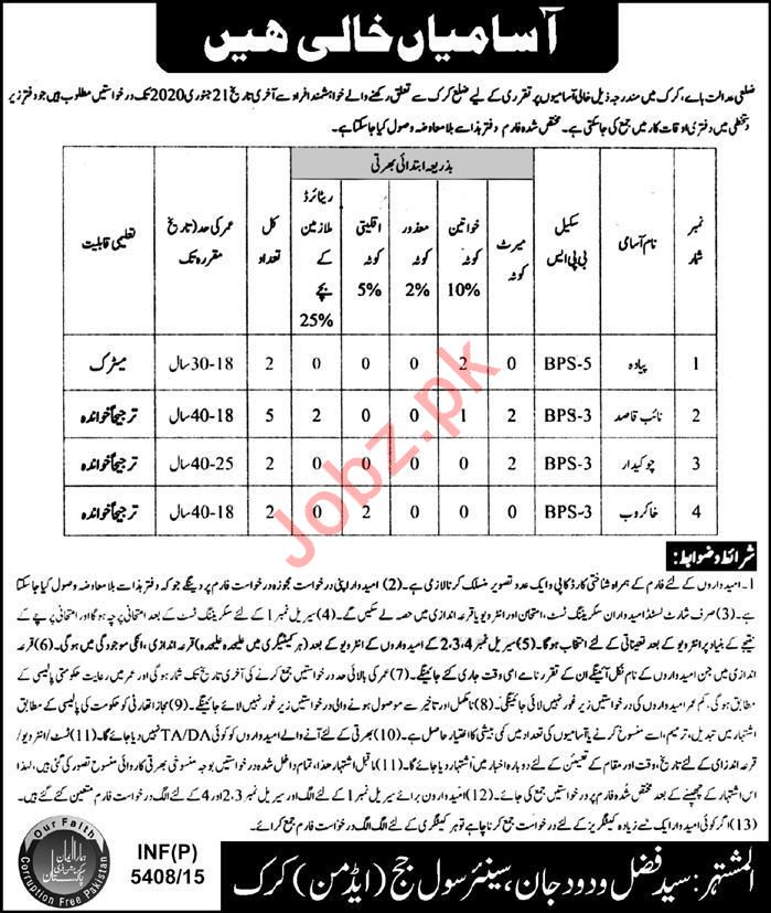 Civil Courts Jobs For Miscellaneous Staff in Karak