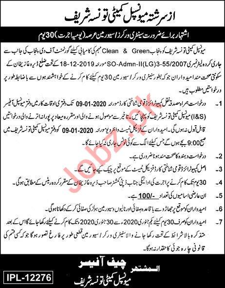 Municipal Committee Office Jobs in Taunsa Sharif DG Khan