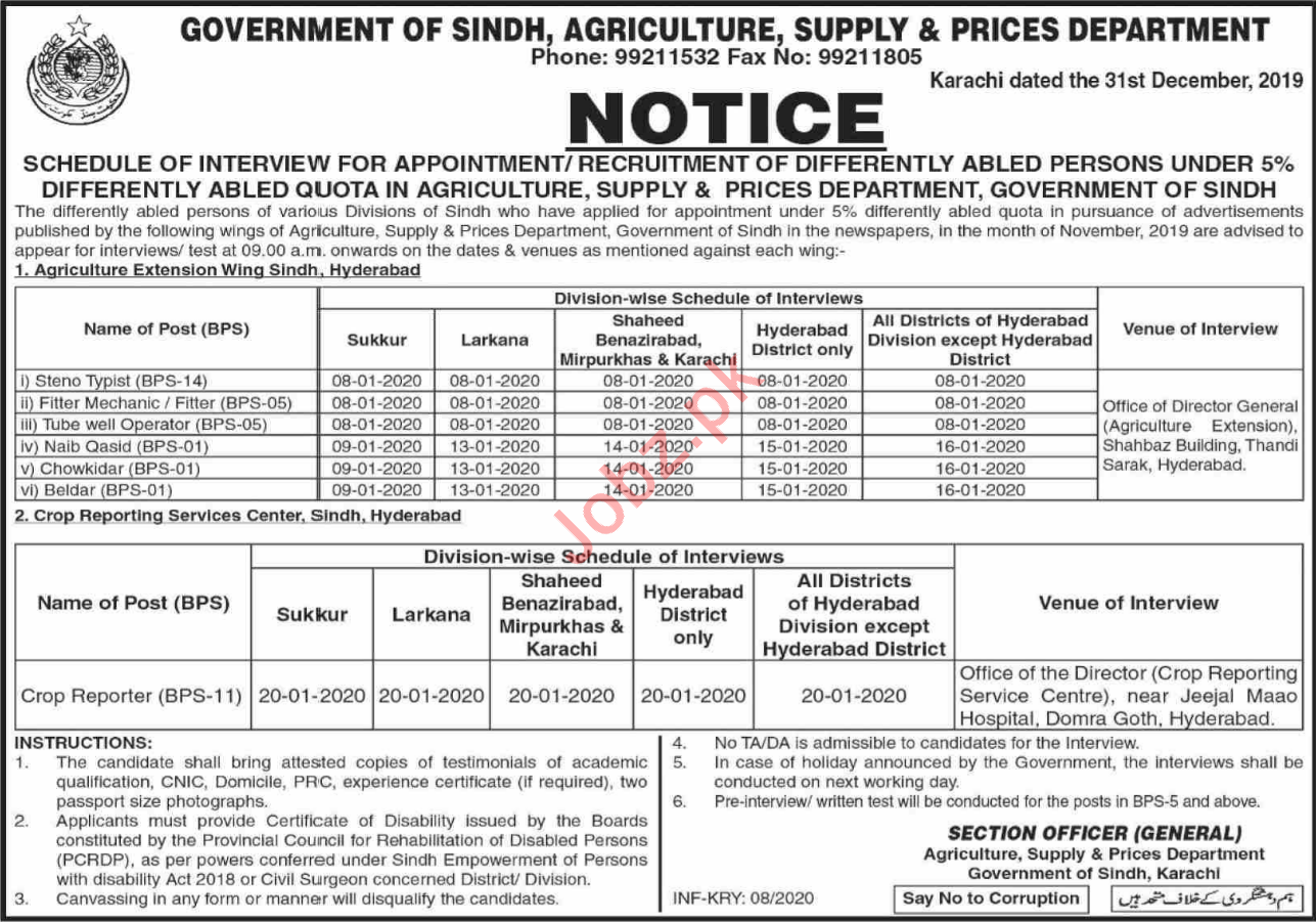 Agriculture Supply & Prices Department Walk In Interviews