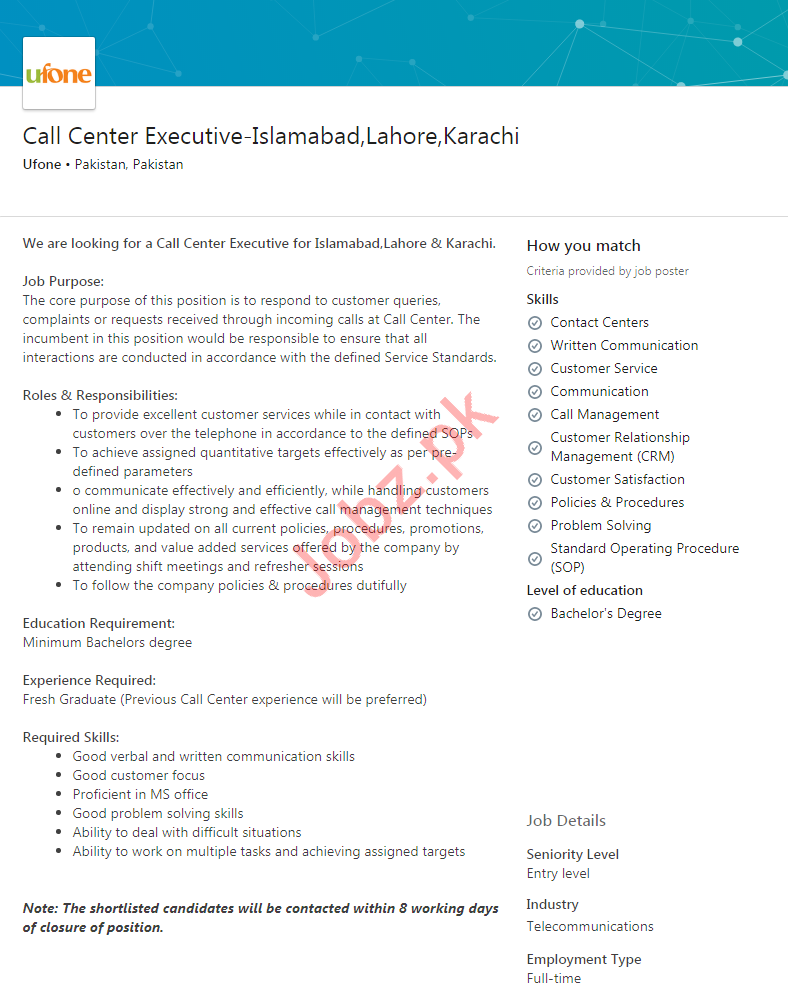 Call Center Executive Jobs in Islamabad, Lahore & Karachi