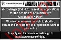 MicroMerger Pvt Ltd Job For Administrative Assistant