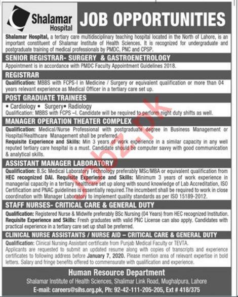 Shalamar Hospital Lahore Medical Staff Jobs 2020