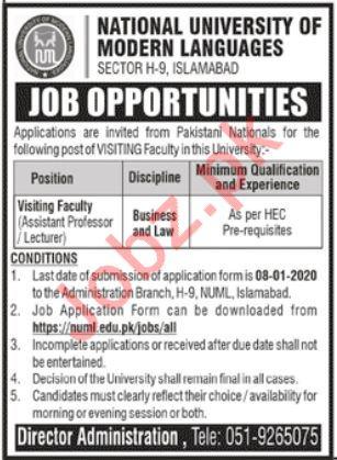 National University of Modern Language Lecturer Jobs 2020