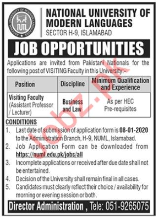 Visiting Lecturer Jobs in NUML University Islamabad