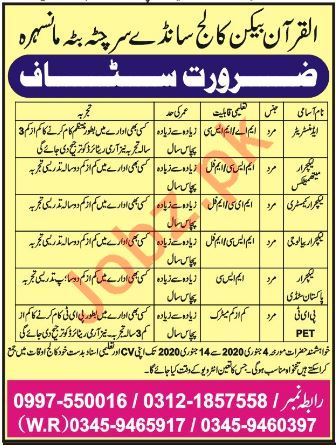 Al Quran Beacon College Chitta Batta Mansehra Jobs 2020