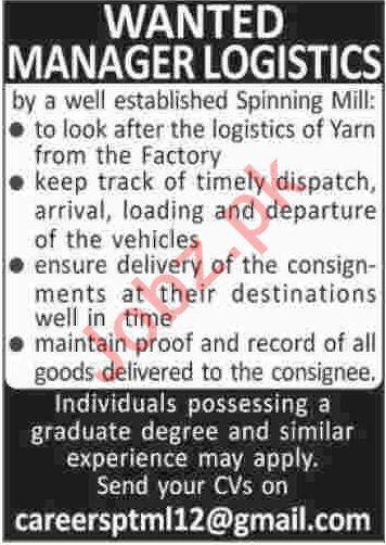 Manager Logistics  Jobs 2020 in Karachi