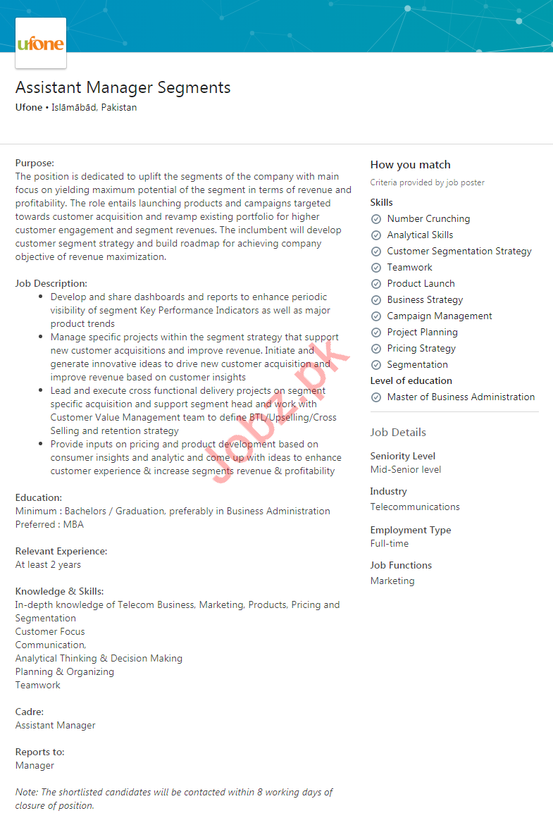 Assistant Manager Segments Job 2020 in Islamabad