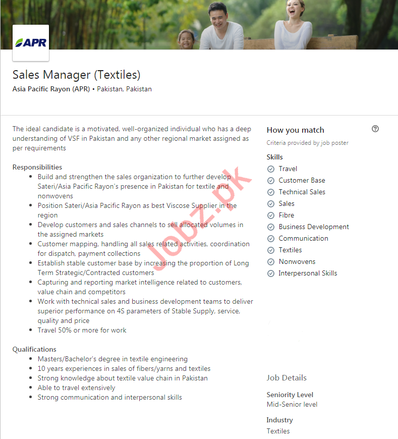 Asia Pacific Rayon APR Pakistan Jobs 2020 for Sales Manager