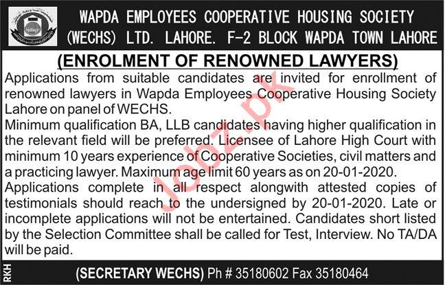 Wapda Employment Cooperative Housing Society Lawyer Jobs