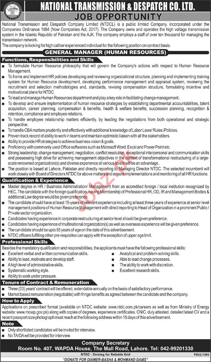 National Transmission & Despatch Company NTDC Manager Jobs