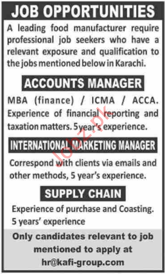 Kafi Group Jobs 2020 in Karachi