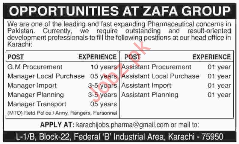 Zafa Group Jobs 2020 in Karachi