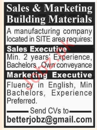 Sales Executive & Marketing Executive Jobs in Karachi