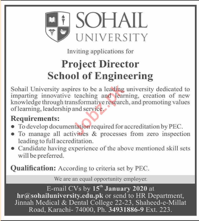School of Engineering Job For Project Director in Karachi