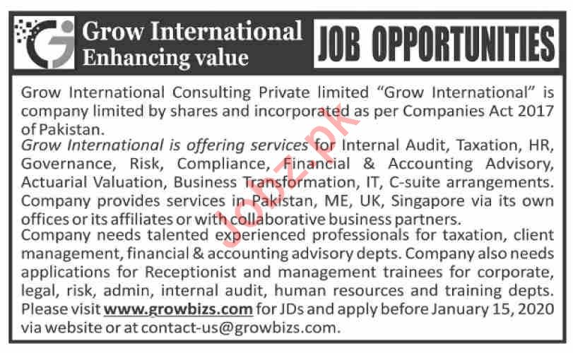 Grow International Consulting Private Limited Jobs 2020