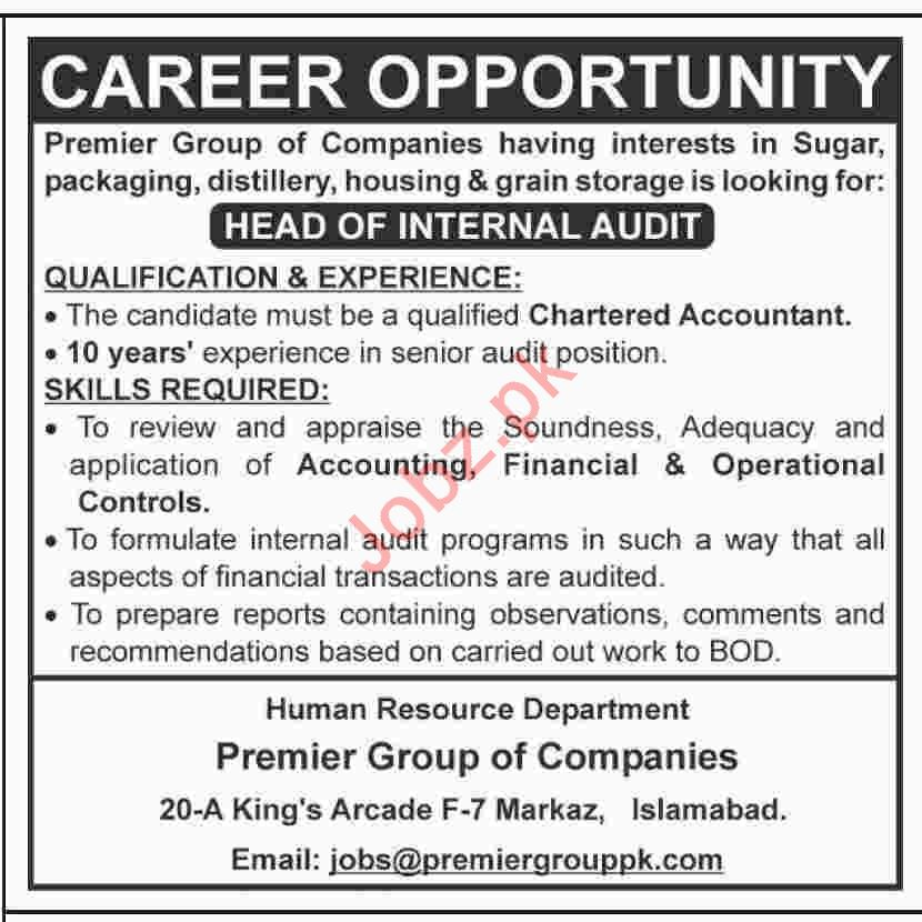 Head of Internal Audit Job 2020 in Islamabad