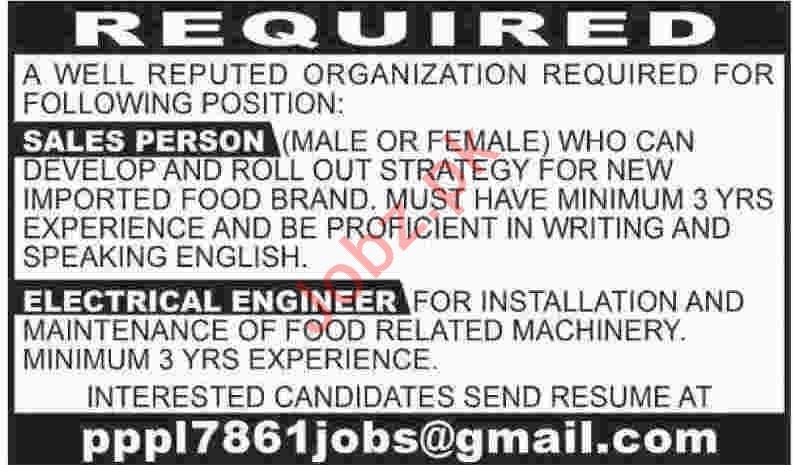 Salesperson & Electrical Engineer Jobs 2020 in Karachi