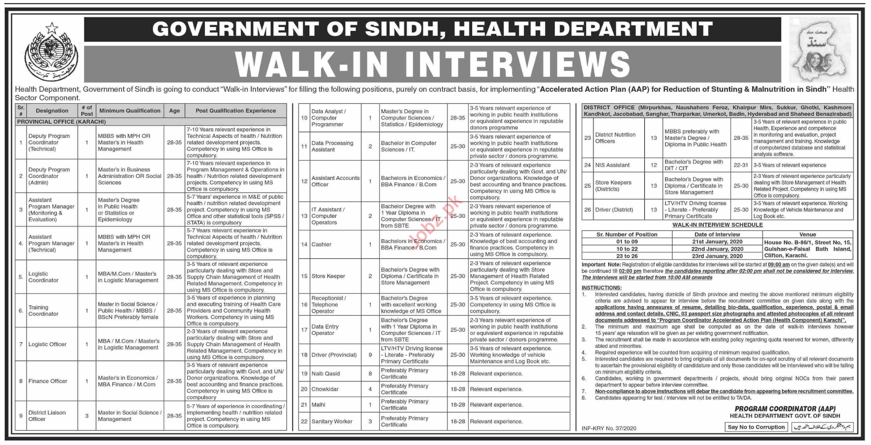 Health Department Walk In Interviews 2020