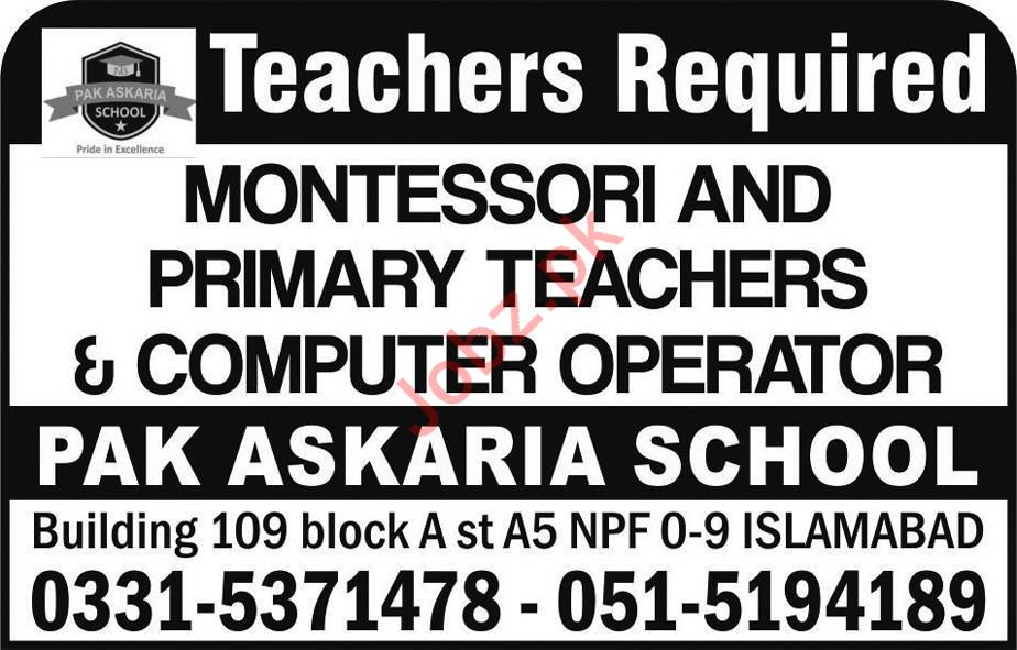 Teaching Staff Jobs in Pak Askaria School