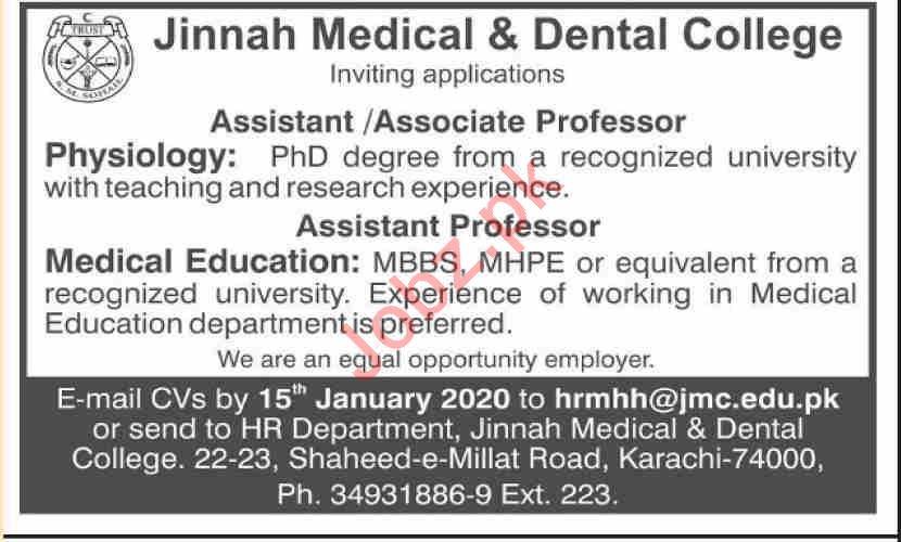 Jinnah Medical & Dental College Faculty Jobs 2020