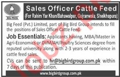 Sales Officer Cattle Feed Jobs in Big Feed Private Limited