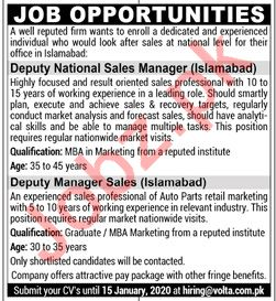 Volta Batteries Islamabad Jobs 2020 for Sales Manager