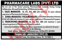 Pharmacare Labs Pvt Ltd Jobs 2020 in Lahore