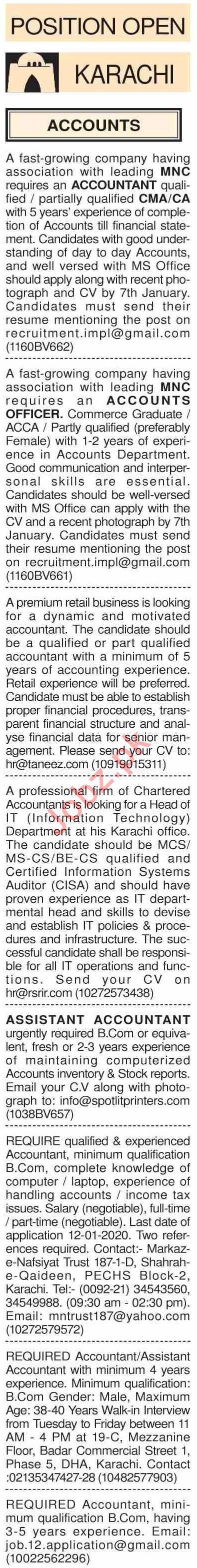 Dawn Sunday Classified Ads 5th Jan 2020 for Medical Staff
