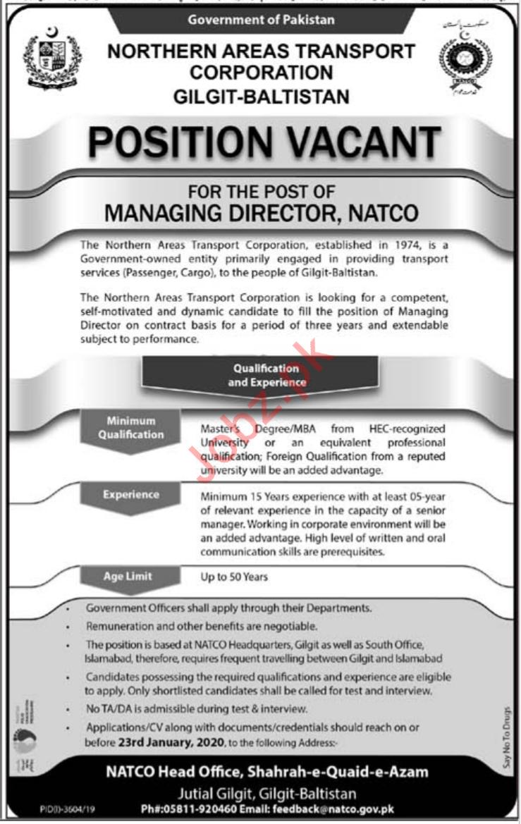 Northern Areas Transport Corporation Managing Director Jobs