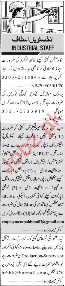 Jang Sunday Classified January 5th Industrial Jobs 2020