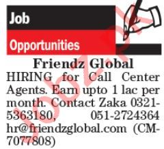Friendz Global Jobs For Call Center Agents in Islamabad