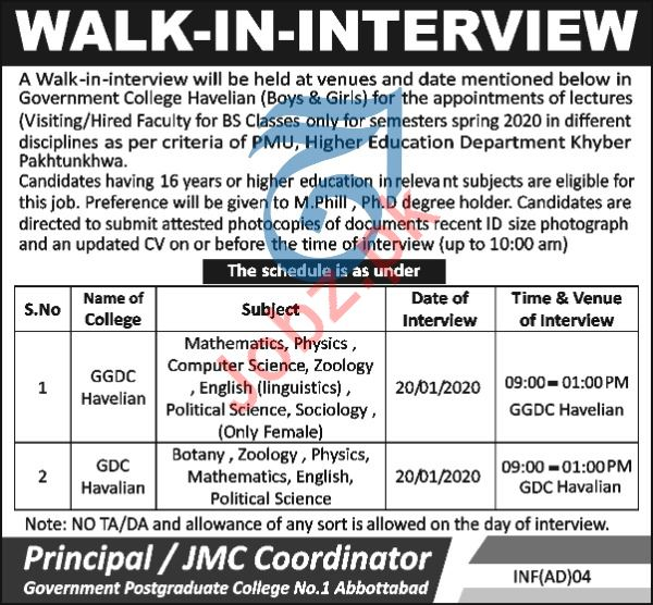Government Postgraduate College Walk In Interviews 2020