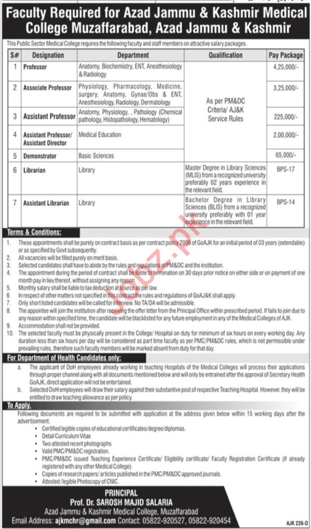 Azad Jammu & Kashmir Medical College Jobs 2020