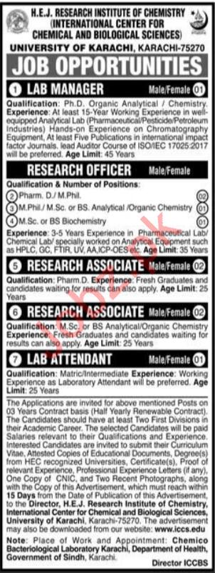 HEJ Research Institute of Chemistry Jobs 2020 In Karachi