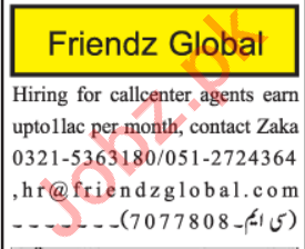 Friendz Global Jobs 2020 For Call Center Agents in Islamabad