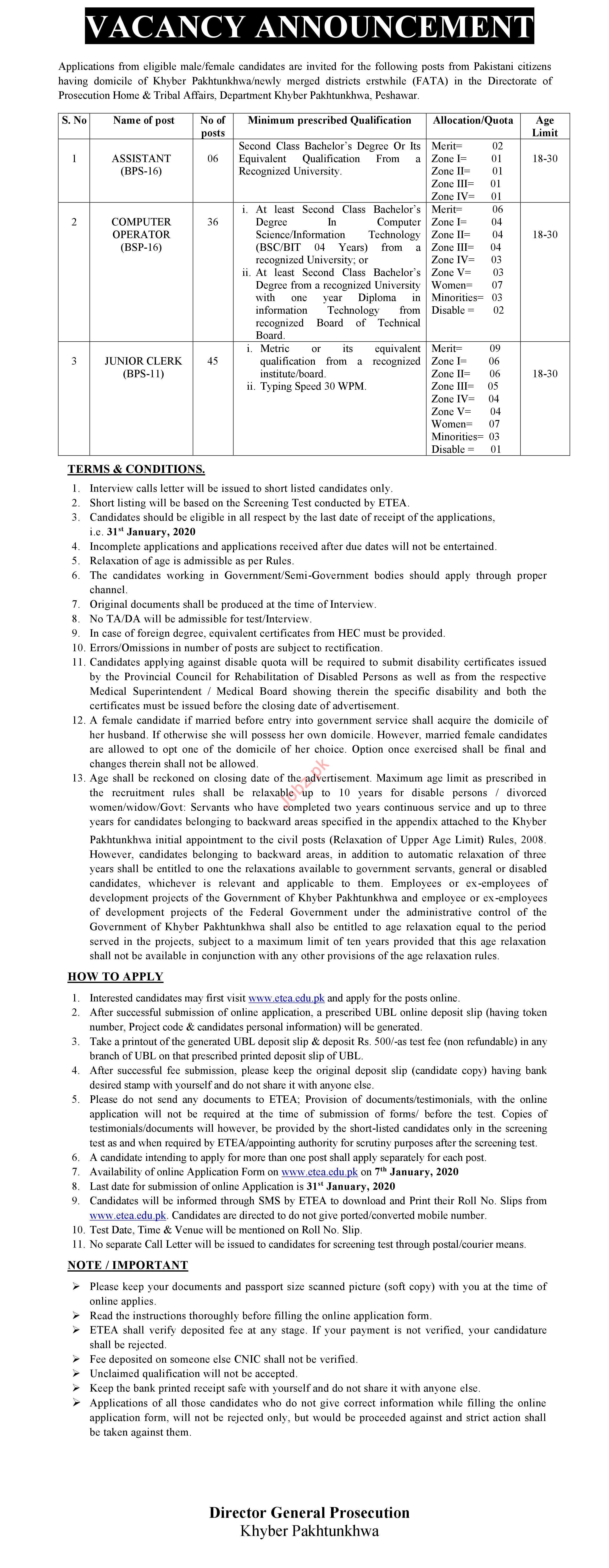 Prosecution Home & Tribal Affairs Jobs 2020 via ETEA
