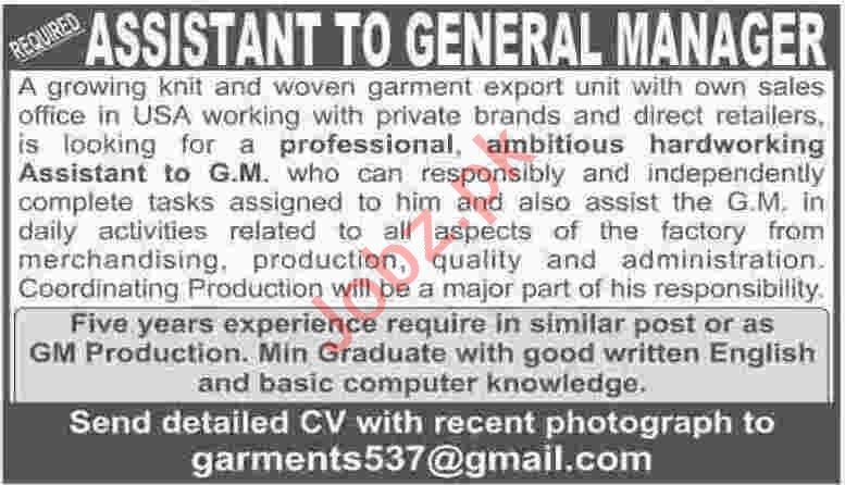 Assistant Jobs Career Opportunity in Karachi