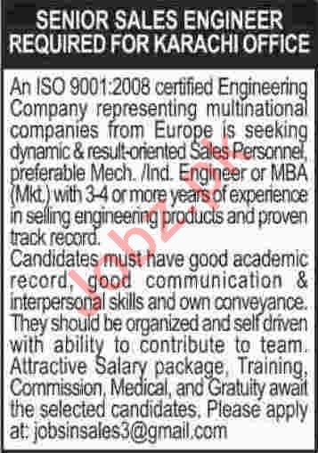 Senior Sales Engineer Jobs 2020 in Karachi