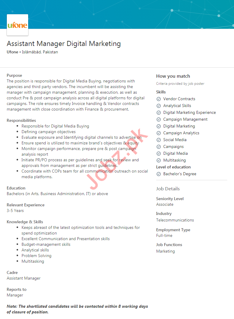 Assistant Manager Digital Marketing Jobs 2020 Ufone Pakistan