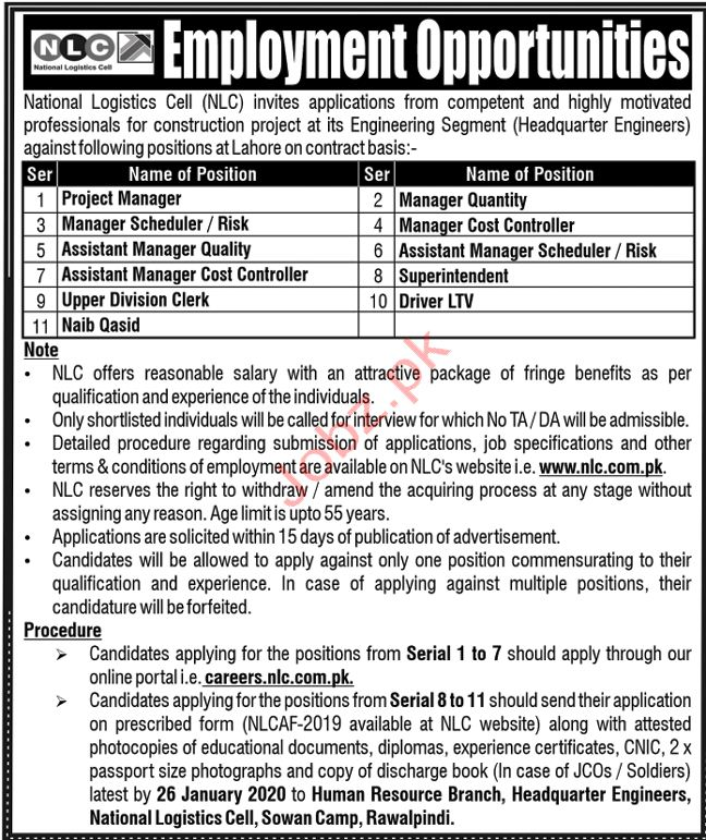 National Logistics Cell NLC Lahore Jobs 2020