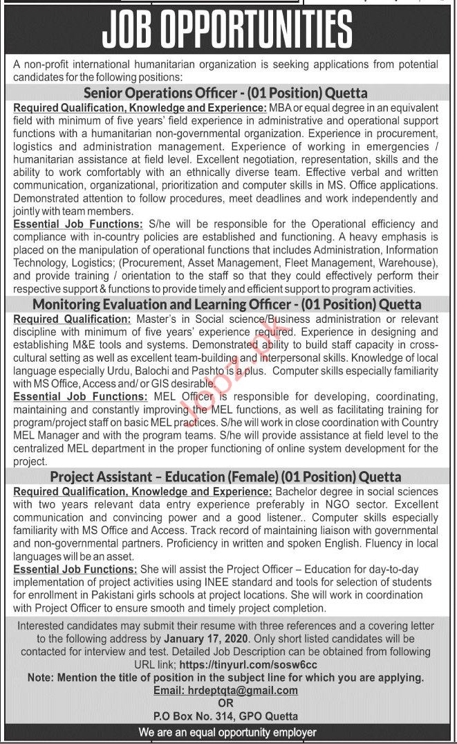 International Humanitarian Organization Jobs in Quetta